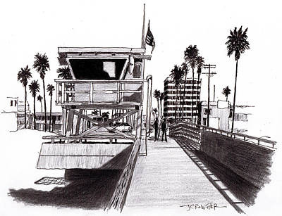 Venice Beach Drawing - Vigilant by John Crowther