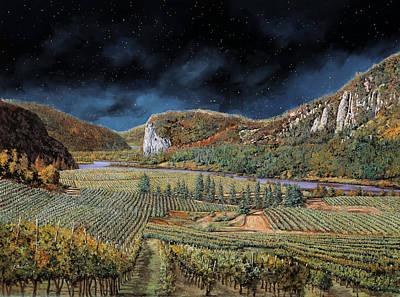 Luna Painting - Vigne Nella Notte by Guido Borelli