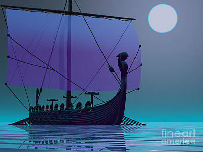 Oars Digital Art - Viking Journey by Corey Ford
