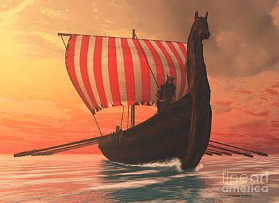 Oars Digital Art - Viking Man And Longship by Corey Ford