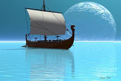Viking Ship 2 Print by Corey Ford