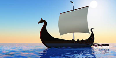 Oars Digital Art - Viking Voyage by Corey Ford