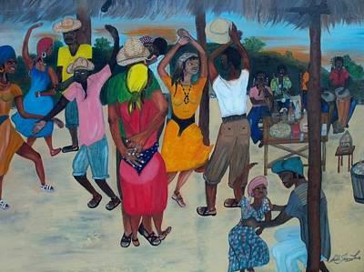 Village Dance Under The Pergola Print by Nicole Jean-louis