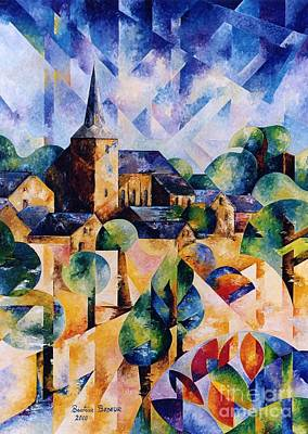 Cubism Painting - Village D'ortho by Beatrice BEDEUR
