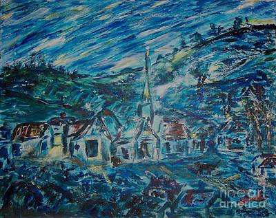 Painting - Village In Blue  by Mary Sedici