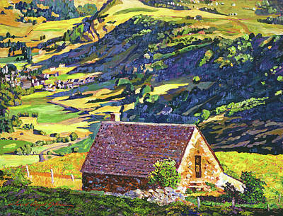 Village In The Valley Print by David Lloyd Glover