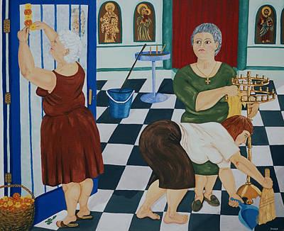 Greek Icon Painting - Village Ladies Decorate Church by Diana Kordas