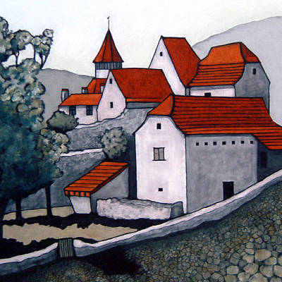 Village, Lot Valley Print by Susan Lishman