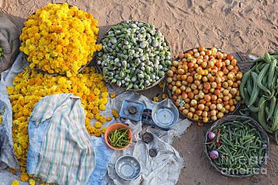Village Market India Print by Tim Gainey