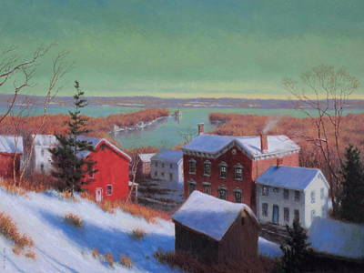 Saugerties Painting - Village On The Hudson by Barry DeBaun