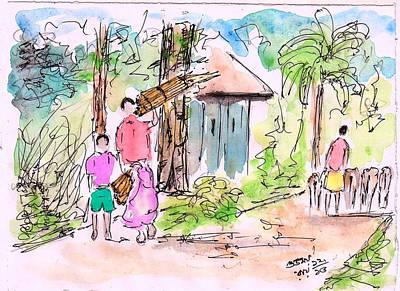 Wash Drawing - Village Scene - 1 by Subhamay Ray