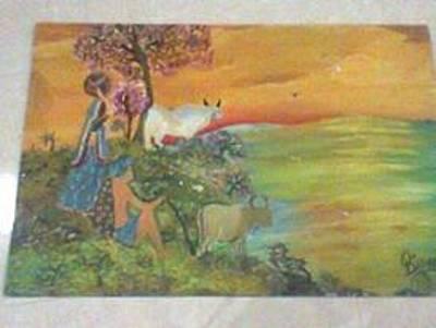 Het Painting - Village Scenes India by Binny Batavia