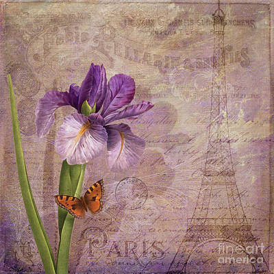 Irises Mixed Media - Ville De Paris French Flowers Garden Art Vintage Style  by Tina Lavoie