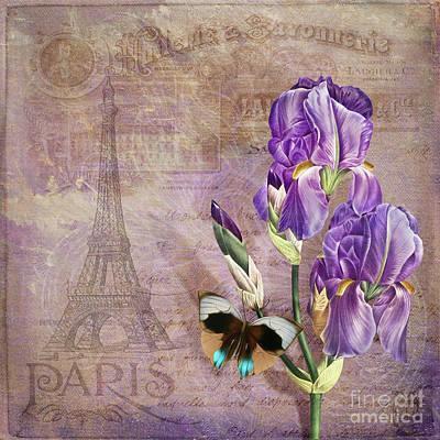 Irises Mixed Media - Ville De Paris II French Floral Garden Art Vintage Style  by Tina Lavoie
