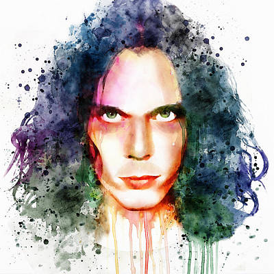 Ville Valo Watercolor Print by Marian Voicu