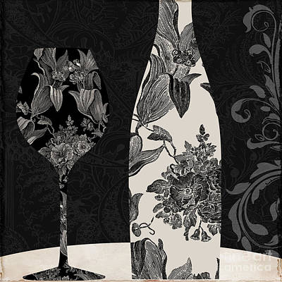 Wine Glass Painting - Vin Elegant by Mindy Sommers