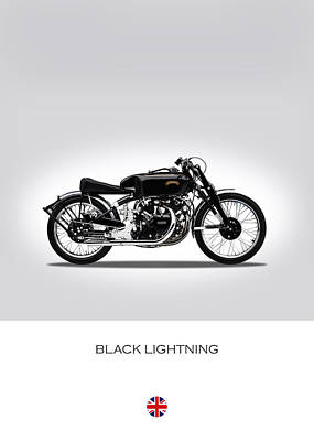 Vincent Black Lightning Print by Mark Rogan