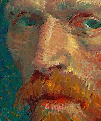 Louvre Painting - Vincent Van Gogh Extreme Close Up Of Self Portrait by Tony Rubino