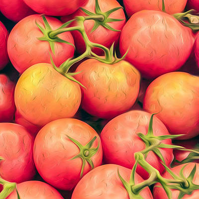 Vine-ripened Tomatoes Kitchen Accent Square Print by Dave Martin