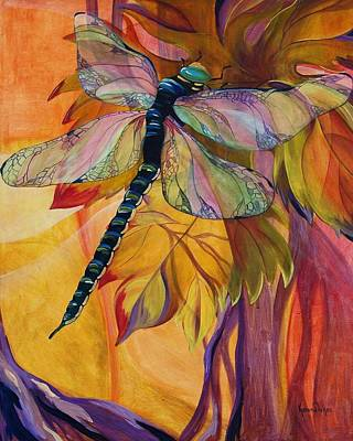Dragonflies Painting - Vineyard Fantasy by Karen Dukes