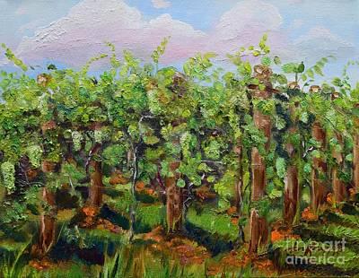 Vineyard Of Chateau Meichtry - Ellijay Ga - Plein Air Painting Original by Jan Dappen