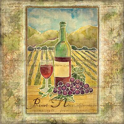 Vines Painting - Vineyard Pinot Noir Grapes N Wine - Batik Style by Audrey Jeanne Roberts