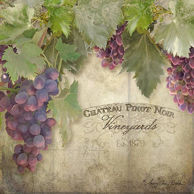 Upscale Painting - Vineyard Series - Chateau Pinot Noir Vineyards Sign by Audrey Jeanne Roberts