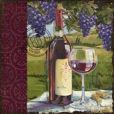 Vineyard Wine Tasting Collage I Print by Paul Brent