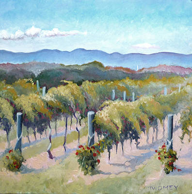 Vines Painting - Vineyards, Mountains And Sky by Catherine Twomey