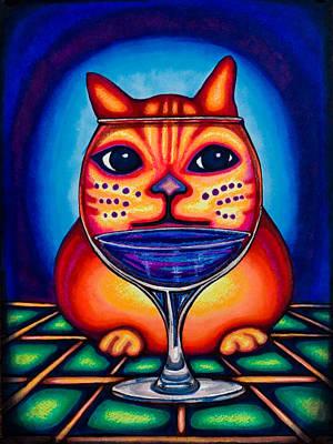 Vino Kats Print by Laurie Tietjen