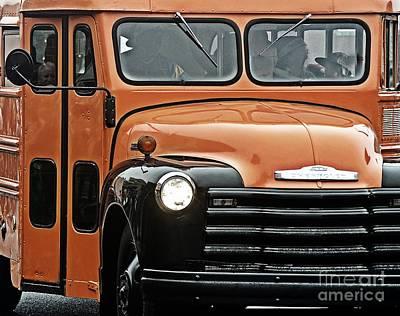 Vintage 54 Chevy School Bus Print by JW Hanley