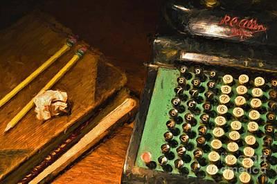 Ledger Lamp Photograph - Vintage Adding Machine And Ledger by D S Images