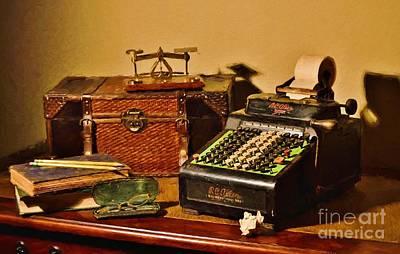 Ledger Lamp Photograph - Vintage Adding Machine by D S Images