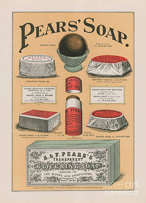 Vintage Advertisement For Pears' Soap Print by English School