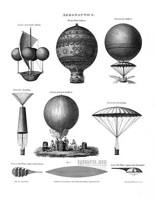 Vintage Aeronautics - Early Balloon Designs Print by War Is Hell Store
