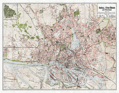 Vintage Antique Hamburg Germany City Map Print by ELITE IMAGE photography By Chad McDermott