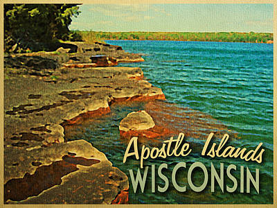 Lakeshore Digital Art - Vintage Apostle Islands Wisconsin by Flo Karp