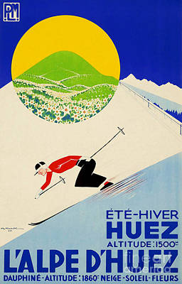 Vintage Art Deco French-swiss Skiing Print by Tina Lavoie