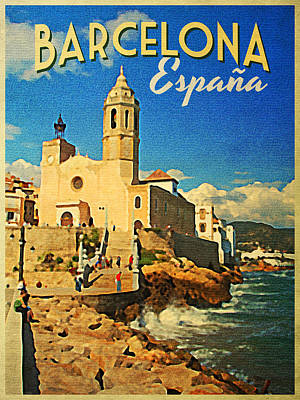 Barcelona Digital Art - Vintage Barcelona Espana by Flo Karp