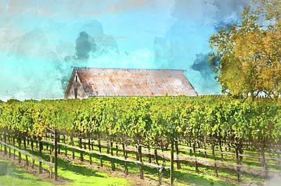 Grapes Photograph - Vintage Barn In Vineyard Applying Retro Film Style by Brandon Bourdages
