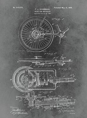 Bicycle Mixed Media - Vintage Bicycle Gear Patent by Dan Sproul