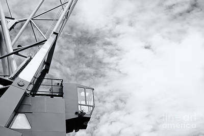 Vintage Black White Harbor Crane Print by Jan Brons