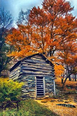 Cabin Interiors Painting - Vintage Blue Ridge Parkway Cabin In Autumn Ap by Dan Carmichael
