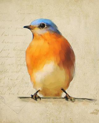 Antique Painting - Vintage Bluebird by Jai Johnson