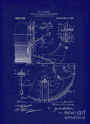 Drum Drawing - Vintage Blueprint, Drum And Cymbal Playing Apparatus by Tina Lavoie