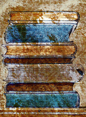 Vintage Book Stack Print by Frank Tschakert