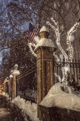 Vintage Boston Sidewalk In Winter Print by Joann Vitali