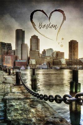 Vintage Boston Skyline Print by Joann Vitali
