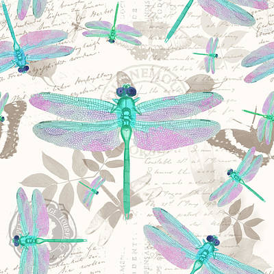 Vintage Botanicals Collection Sea Foam Green, Pink Dragonflies Print by Tina Lavoie