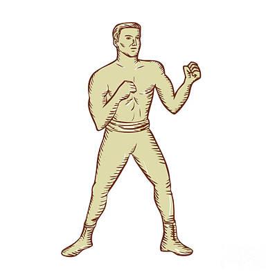 Boxer Digital Art - Vintage Boxer Pose Etching by Aloysius Patrimonio